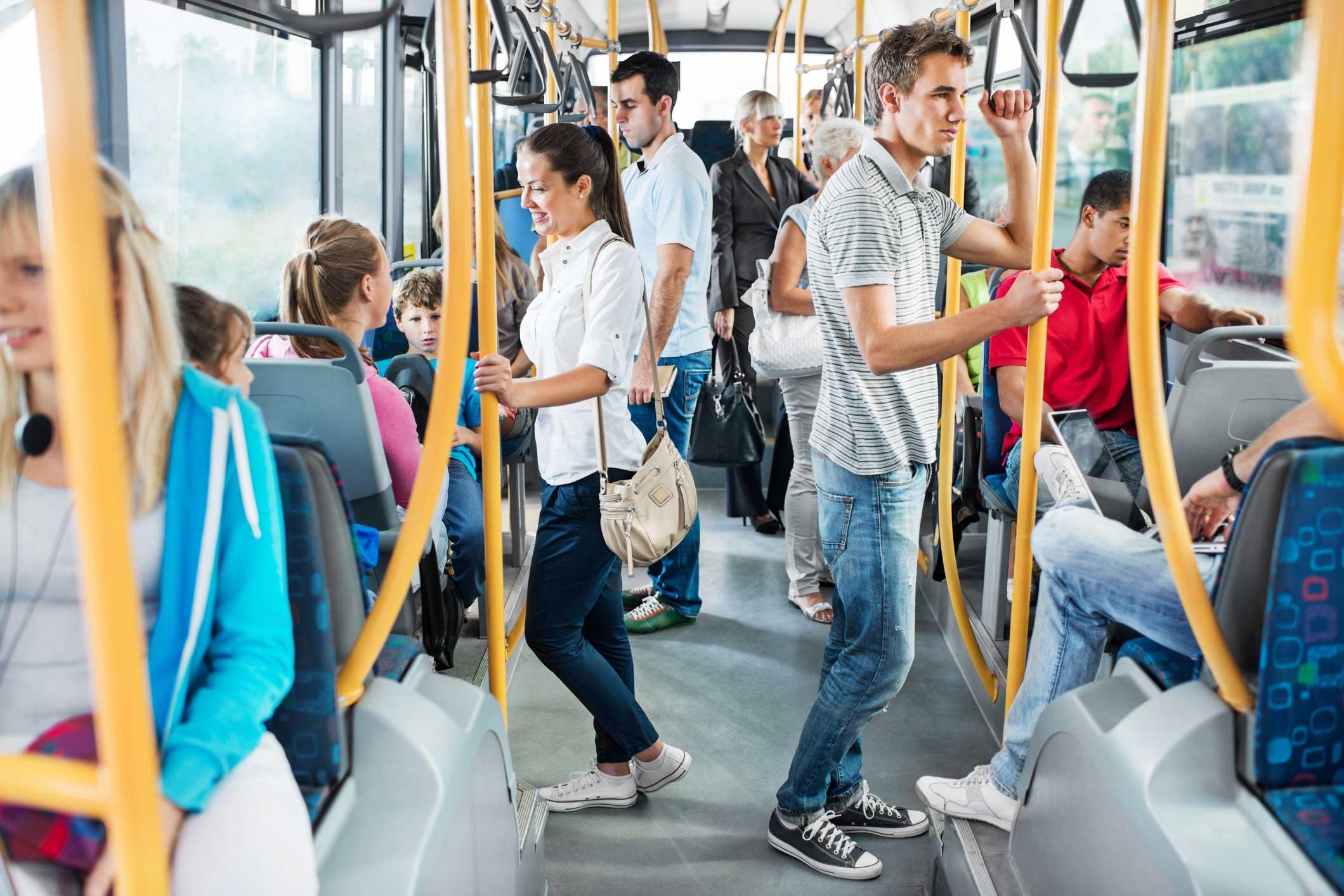 passengers on light rail system